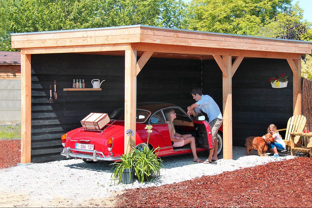 Bekijk het assortiment garage's en carports van De Splinter Blokhutten & Tuinmeubelen