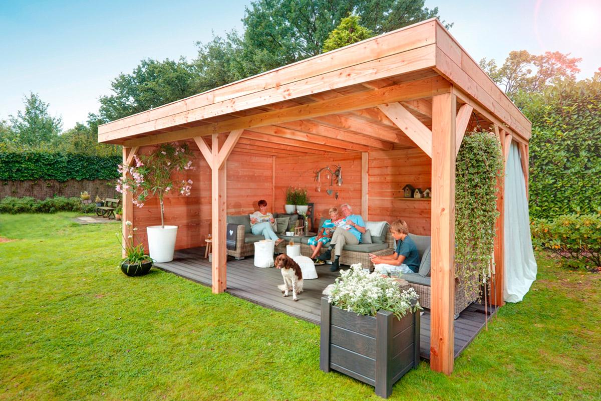 Bekijk het assortiment veranda's en buitenverblijven van De Splinter Blokhutten & Tuinmeubelen